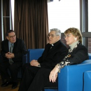 Le président de l'Institut Maïmonide Guy Zemmour, le Cardinal Jean-Marie Lustiger et le maire de Montpellier Hélène Mandroux en 2006
